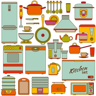 Kitchen appliances set. illustration.