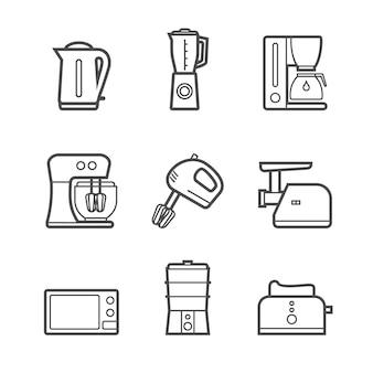 Kitchen appliances vector line style icon set