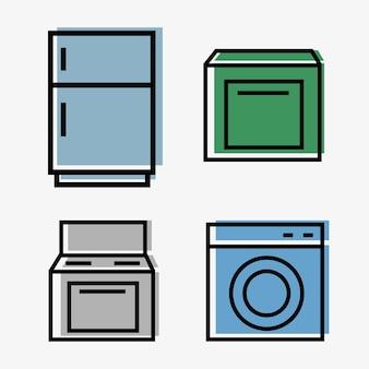 キッチン家電ウェブ-4つのアイコンのセット-冷蔵庫、プレート、洗濯機、食器洗い機-ラインスタイル