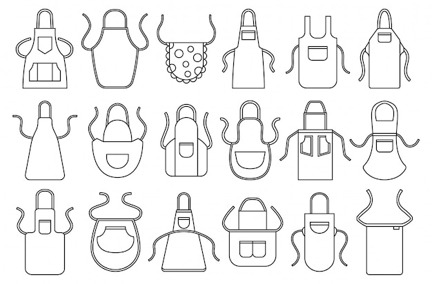 Kitchen apron in line style icon set.