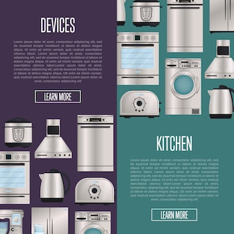 Kitchen automatic household devices banners
