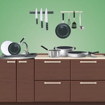 Kitchen brown furniture with realistic culinary utensils on green 3d illustration