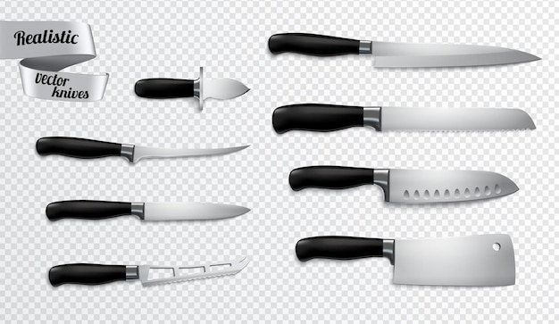 キッチン肉屋のナイフは、骨抜きのスライサーカーバーシェフの包丁のクリッピングパスでクローズアップの現実的な画像を設定します