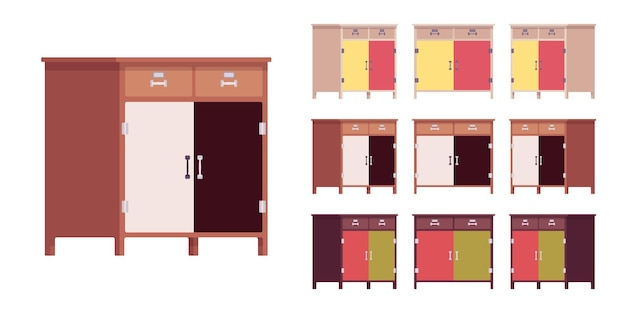 Kitchen cabinet with drawers and doors