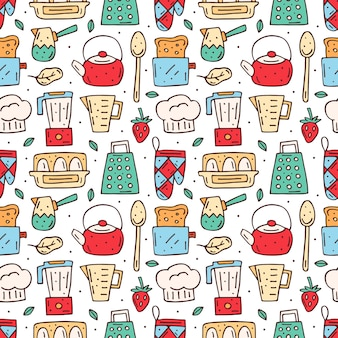 Kitchen cartoon elements seamless pattern