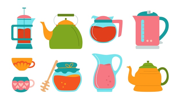 Kitchen cartoon style set, honey jug, sugar cup, teapot and electric kettle cooking dishes, equipments