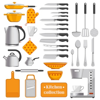 Kitchen collection of sharp knives, silver tableware, iron kettles, convenient utensils, coffee machine and dotted potholders vector illustrations.