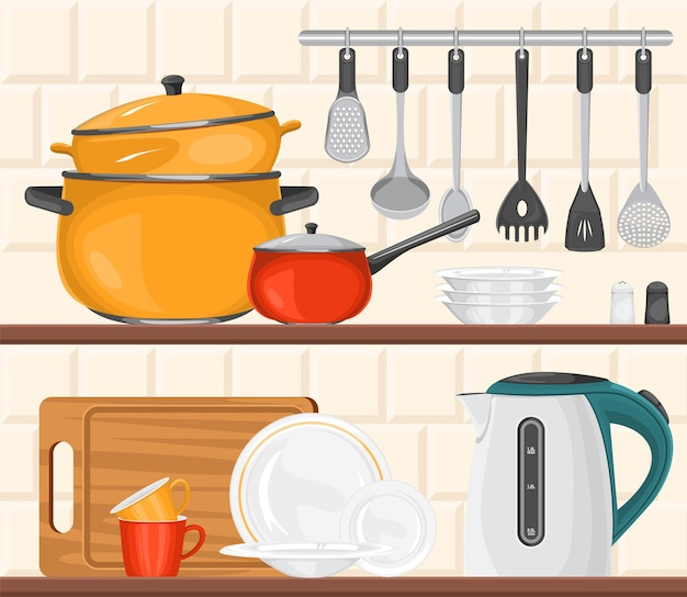 Kitchen composition with front view of equipment for cooking on shelves with cutlery