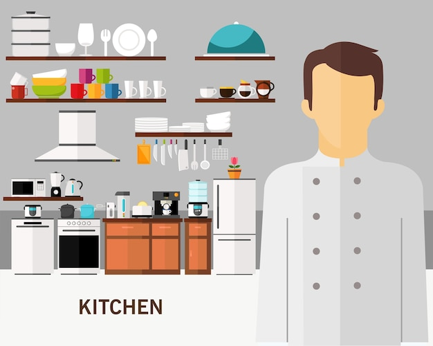 Kitchen concept background. flat icons.