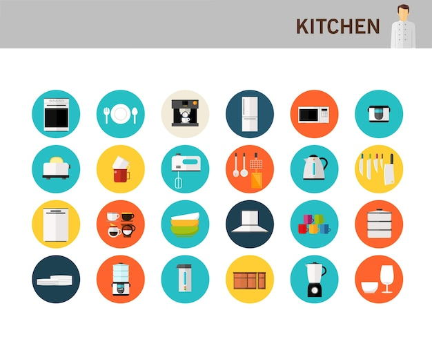 Kitchen concept flat icons.