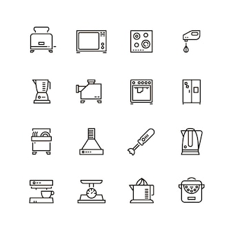 Kitchen and cooking appliances household line symbols