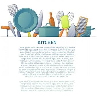 キッチン調理器具とキッチンツール。テキスト用のスペース。漫画のスタイル。