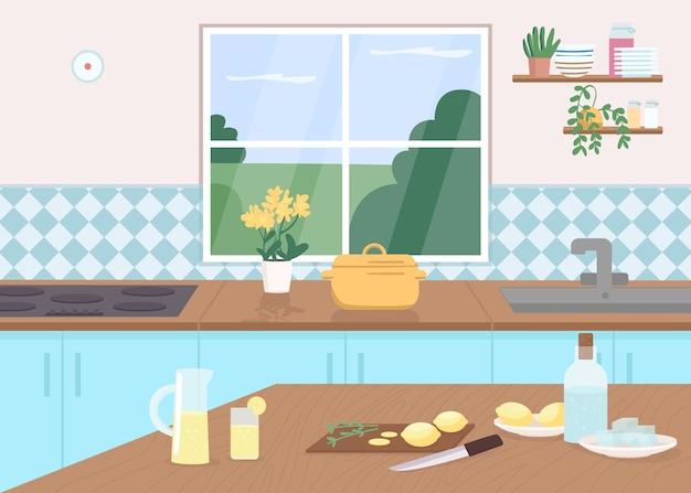 주방 카운터 평면 컬러 일러스트입니다. 테이블에 레몬을 자른다. 레모네이드를 취미로 만드십시오. 쿡 클래스. 가정용 가구. 배경에 창 식당 2d 만화 인테리어