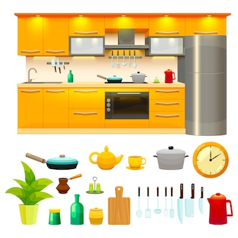 Kitchen design icon set