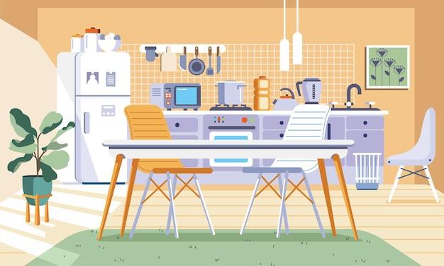 多くの電化製品を備えたキッチンデザインのインテリア