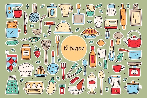 Kitchen elements cute doodle hand drawn vector clipart set of elements stickers cooking equipment food kitchenware