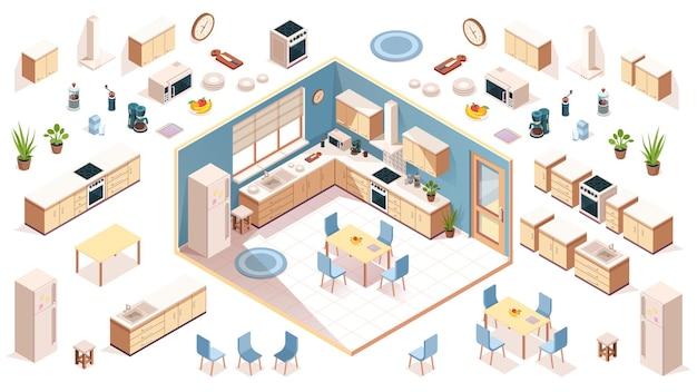Кухонные элементы для дизайна комнаты, конструктор, элементы кухонной утвари, элементы бытовой техники.