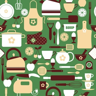 Kitchen elements on a green background