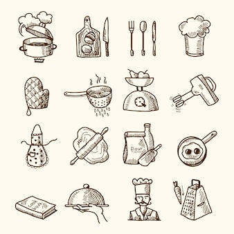 Kitchen elements icons collection