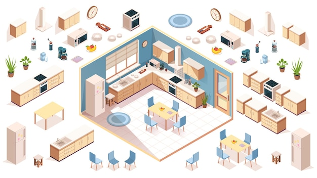 Kitchen elements for room design constructor elements of kitchenware utensil appliance items