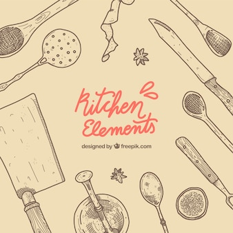 Kitchen elements with hand drawn style