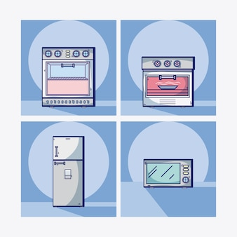 Kitchen equipment collection on squares