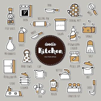 Kitchen equipment hand drawn doodle icons set.