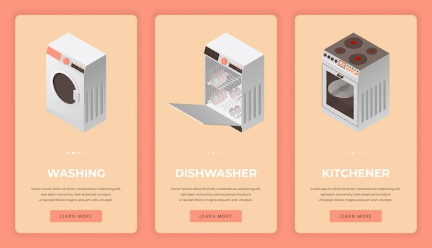 Kitchen equipment and household appliances mobile app screens.