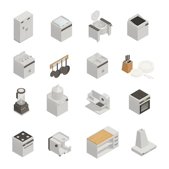 Kitchen equipment isometric set