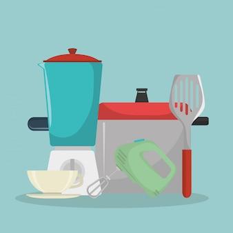 Kitchen equipment set icons