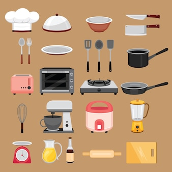 Kitchen equipments, appliances objects set
