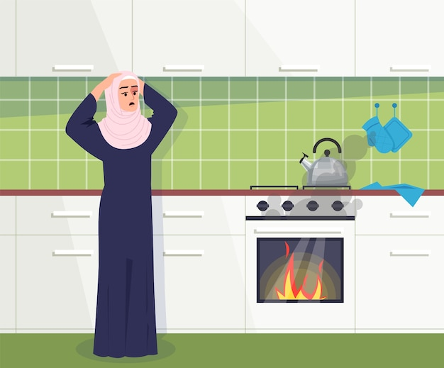 Kitchen fire accident semi   illustration. muslim woman shocked. faulty oven. blazing flame in furnace. unexpected cookhouse incident  cartoon character for commercial use