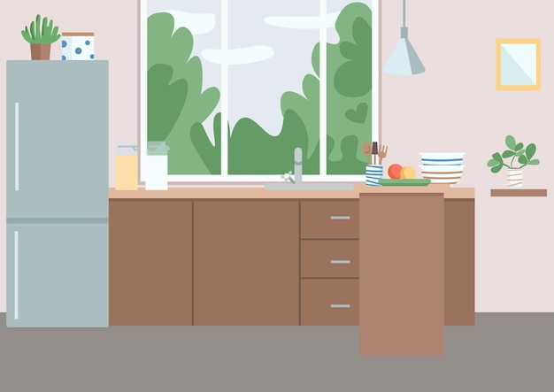 Kitchen flat color illustration residential house furniture fridge near cabinets