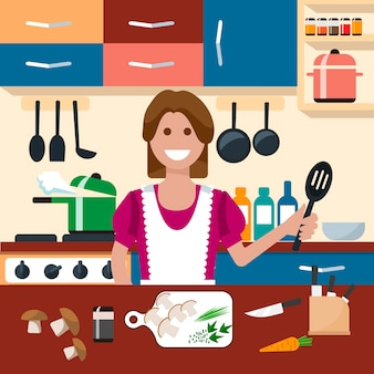 Kitchen flat icon creative concept illustration, housewife with kitchen utensils, knife, pan, for posters and banners