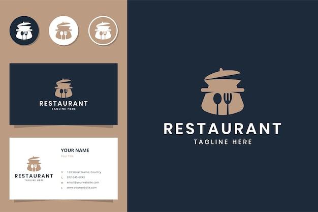 주방 음식 부정적인 공간 로고 디자인