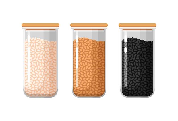 Кухонные контейнеры для хранения продуктов с белым коричневым и черным рисом закрытые прозрачные коробки