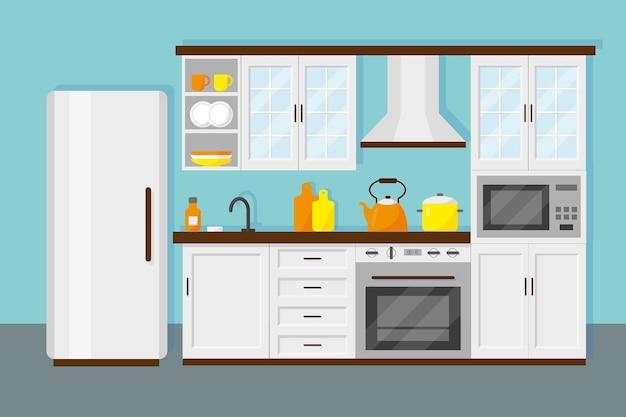 家具冷蔵庫microwafe料理と皿を備えたオフィスと家庭のためのキッチン