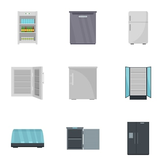 Kitchen fridge icon set, flat style