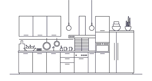 Kitchen full of furniture, household appliances, cookware, cooking facilities and utensils, home decorations.