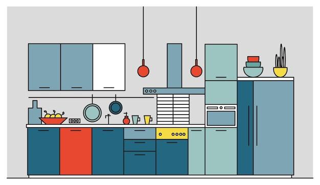 Кухня с современной мебелью, бытовой техникой, посудой, кухонными принадлежностями, оборудованием и предметами домашнего обихода.