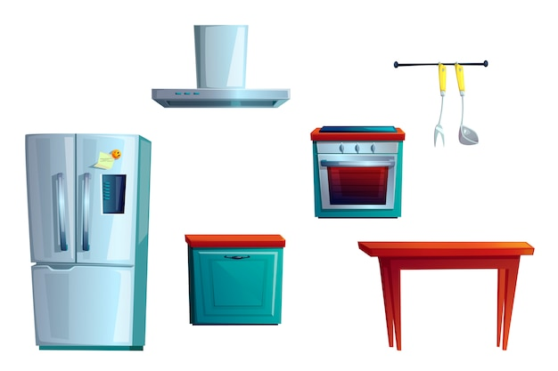 Kitchen furniture, cartoon interior creating set