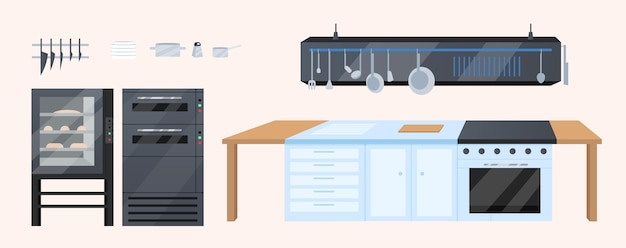 Kitchen furniture flat color objects set