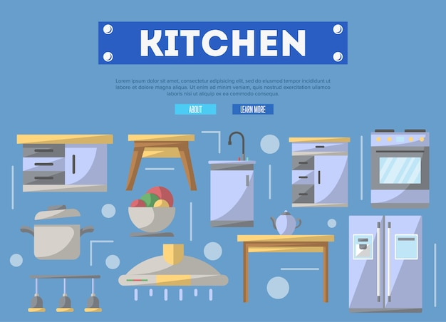 Kitchen furniture  in flat style