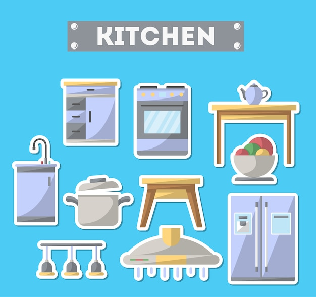 Kitchen furniture icon set in flat style