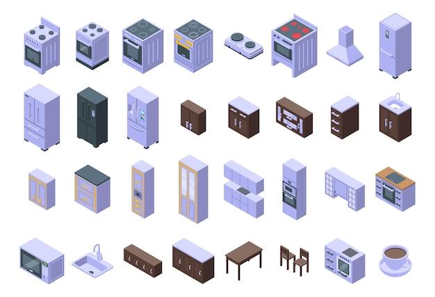 キッチン家具のアイコンを設定します。白い背景で隔離のウェブデザインのキッチン家具ベクトルアイコンの等尺性セット