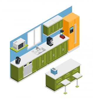Kitchen furniture isometric composition
