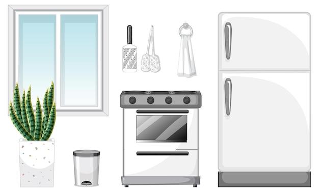Set di mobili da cucina per l'interior design su sfondo bianco