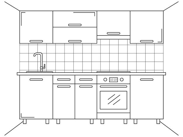 Мебель для кухни. эскиз в стиле линии.