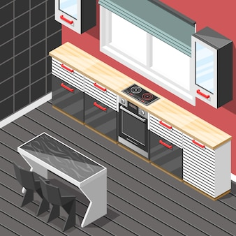 Kitchen futuristic interior isometric