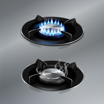 Kitchen gas stove on stainless steel floor